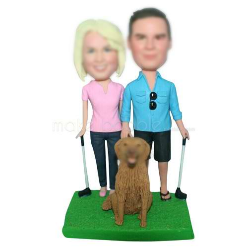 golf couple with their lovely pet dog custom bobbleheads