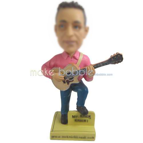 man in pink shirt playing the guitar custom bobbleheads
