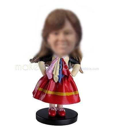 Personalized custom little girl bobbleheads